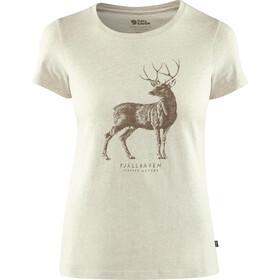Fjällräven Deer Print - Camiseta manga corta Mujer - blanco